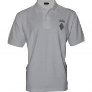 White Polo Shirt Silver Crown